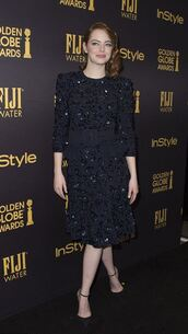 dress,midi dress,emma stone,pumps,sparkly dress,shoes