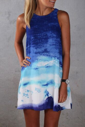 dress blue ombre ocean waves