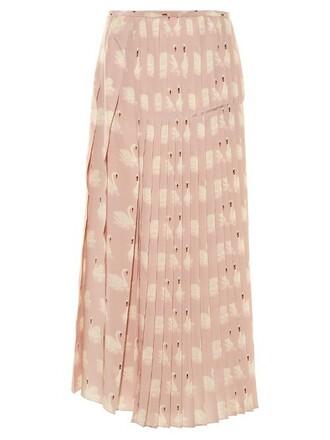 skirt midi skirt pleated midi print silk light pink light pink