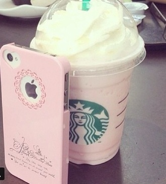 jewels phone cover pink iphone 5 case iphone5 heart pretty girly starbucks coffee home accessory bag this is so cute