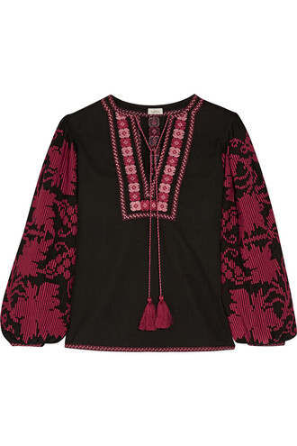 blouse embroidered cotton purple burgundy top