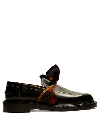 loafers leather silk black shoes
