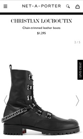 shoes,black combat boots,chain,chained boots,chain trimmed boots,louboutin,boots,black,black combat boots with  chunky heels,christian louboutin replica,black boots,combat boots
