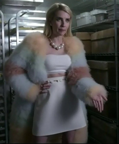 skirt crop tops emma roberts chanel oberlin scream queens fur coat tank top jacket jewels jewelry necklace pearl asos coat style fashion