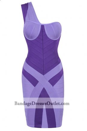 Purple Bra-shaped Top One Shoulder Bandage Dress [Purple Bra-shaped One Shoulder] - $162.00 : Cheap Bandage Dresses Online, Wholesale Price Bandage Dresses Outlet
