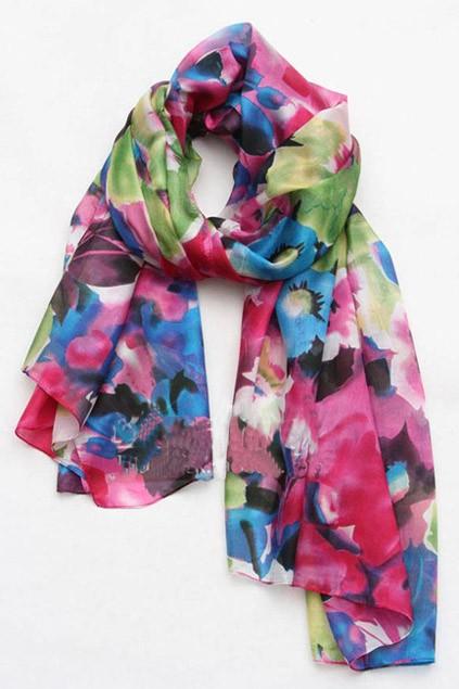 floral printing silk scarf oasap