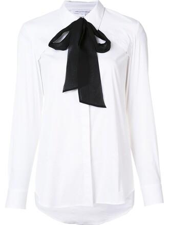 shirt collar shirt bow white top