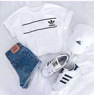 sneakers shirt adidas grunge tumblr hipster shorts blouse adidas shirt white top