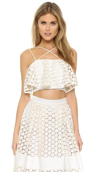 top lace crop top lace white