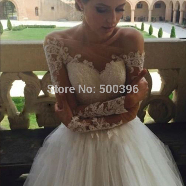 Aliexpress Buy Off Shoulder Sheer Long Sleeves Wedding Dress