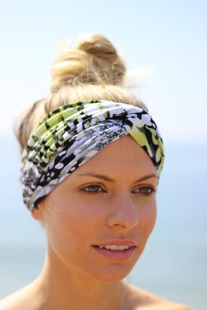scarf headband workout gym workout turband turban headband neon graffiti 59ce31b3c8a1