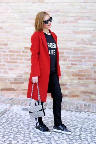 fashion and cookies blogger coat sunglasses sweater bag pants shoes red coat fall outfits gucci bag sportswear