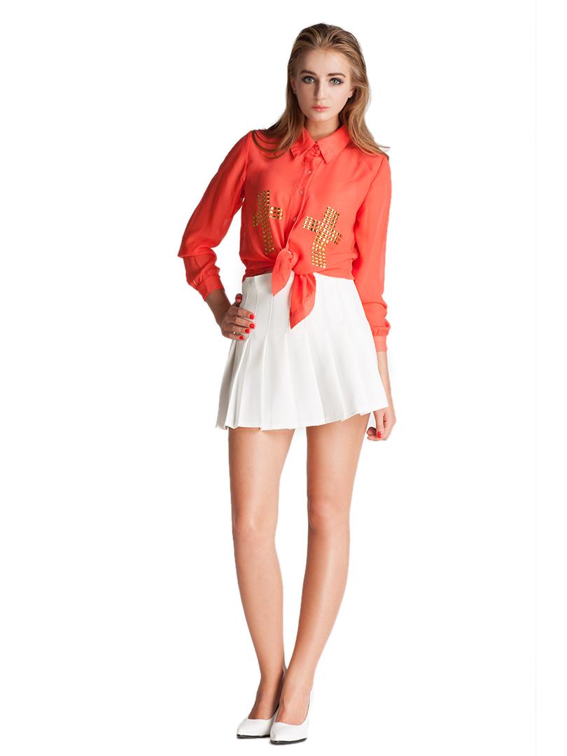 High Waist Pleated Mini Skirt - Choies.com