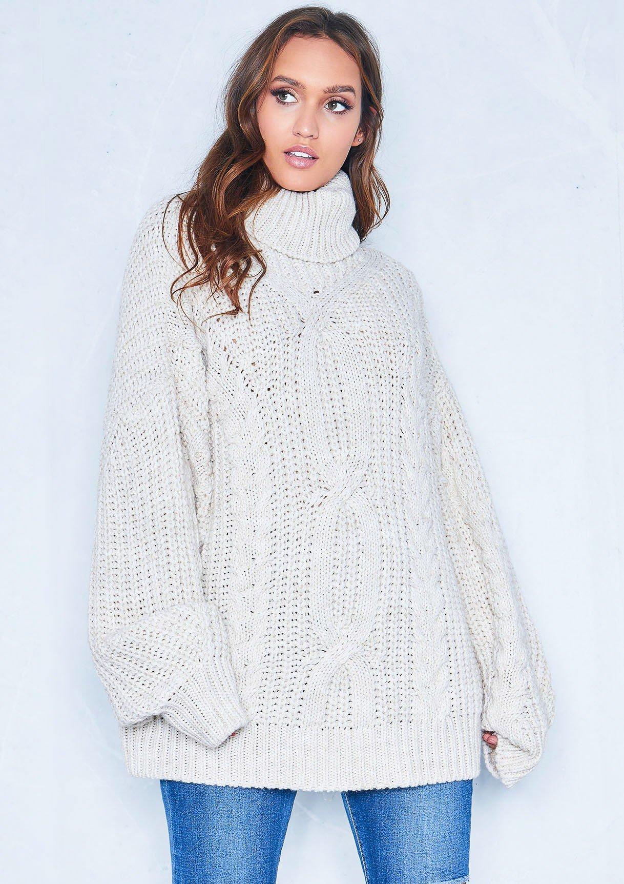 Francesca Beige Cable Knit Roll Neck Oversized Jumper