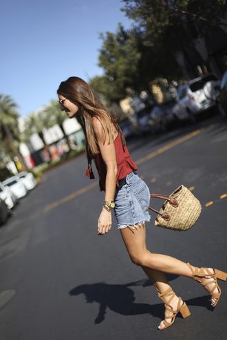 b a r t a b a c blogger shoes jewels bag sunglasses red top denim shorts lace up heels thick heel