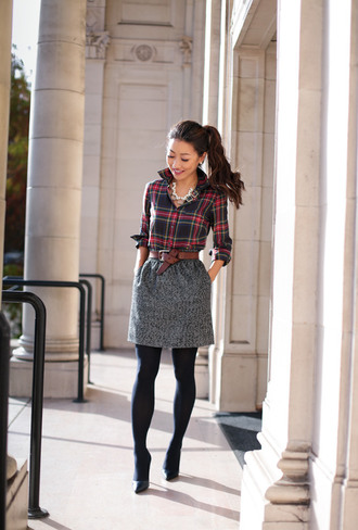extra petite blogger jacket shirt skirt jewels plaid shirt grey skirt brown belt high heel pumps