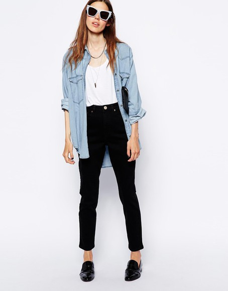 black shirt necklace oversized blue shirt must have light blue blue oversized shirt asos jeans black high waisted pants white top sunglasses black shoes shoes