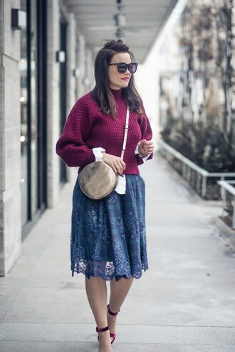 live more beautifully blogger skirt sweater shoes jewels sunglasses round bag midi skirt blue skirt sandals purple sweater