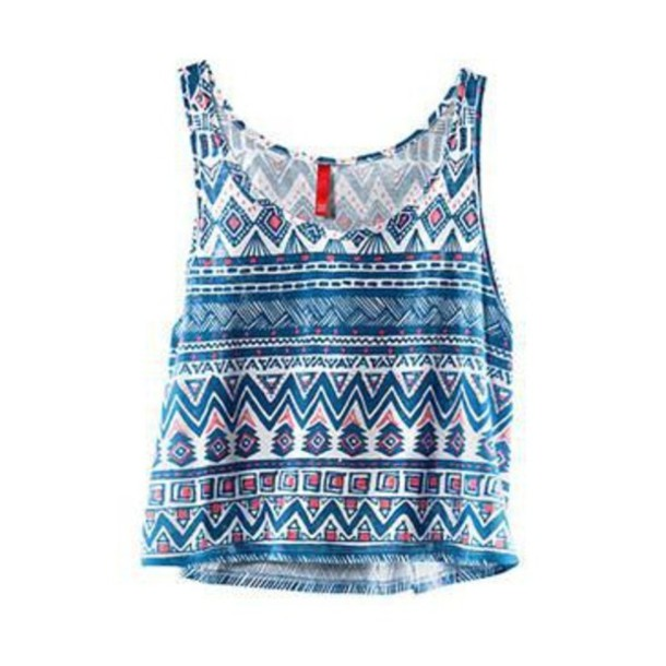 Tank Top Blue Tribal Pattern