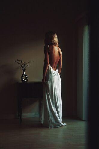 dress white dress long dress maxi dress spaghetti straps dress naked back backless dress long white backless dress flowy dress spaghetti strap skirt