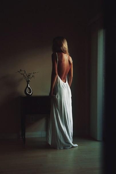 backless white dress dress long dress classy dress naked back flowy dress maxi dress spaghetti straps dress backless dress long white backless dress spaghetti strap skirt