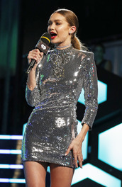 dress,gigi hadid,model,celebrity,silver dress,mini dress,sequin dress,sequins,sexy dress,long sleeve dress,club dress