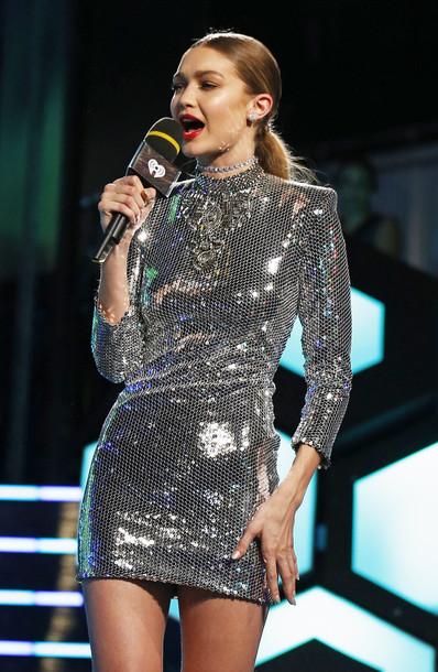 2a124605 dress gigi hadid model celebrity silver dress mini dress sequin dress  sequins sexy dress long sleeve