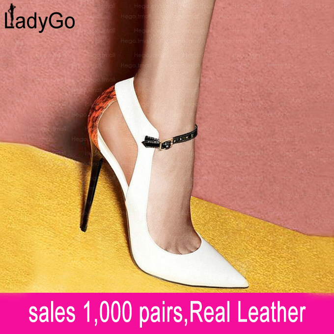 Aliexpress.com : Buy LADY GO 2014 New European Genuine Leather Shoes Women Patchwork Snake Patten Back Hollow Strap Buckle Pointed Toe Heel from Reliable leather dress sandals suppliers on Lady Go Fashion Shop