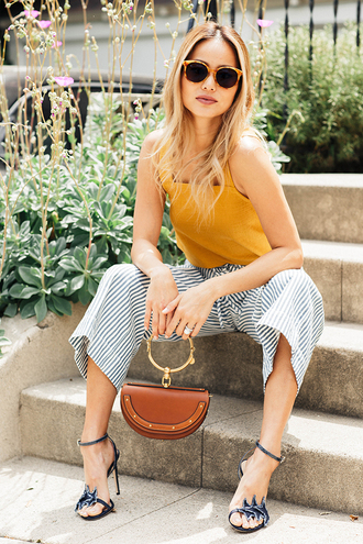 shoes sandals sandal heels pants top jamie chung blogger blouse