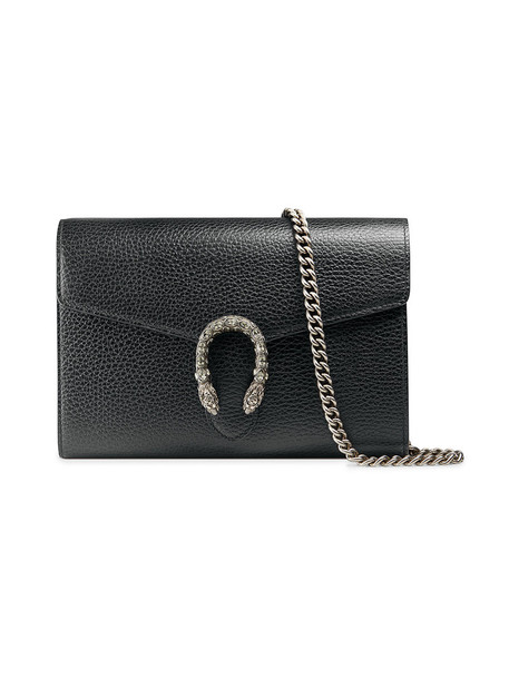 gucci mini metal women bag chain bag leather black