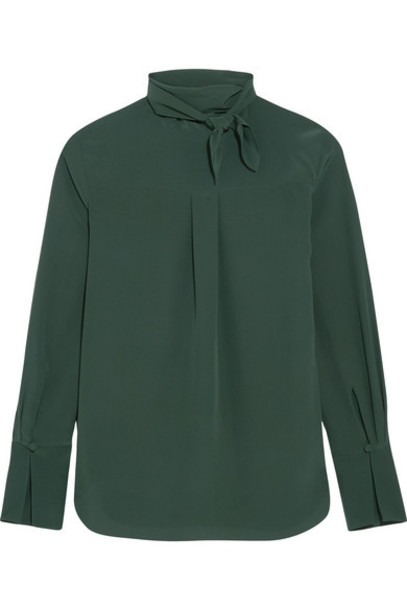Chloe blouse bow forest silk green forest green top