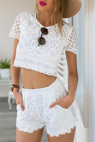romper zaful beach summer lace sunglasses hipster crop tops boho chic fashion bikini bra harem pants style top white