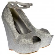 Onlineshoe Silver Glitter Wedge Peep Toe Platform Shoes Ankle Strap - Silver - Onlineshoe from Onlineshoe UK