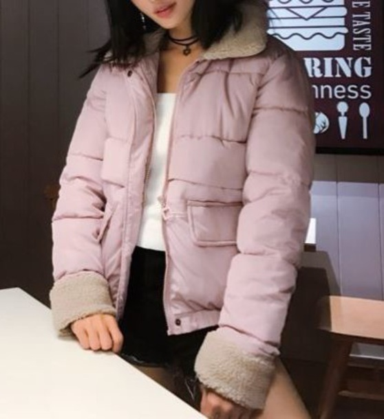 coat girly puffer jacket pink zip zip-up zip up jacket fur fur coat