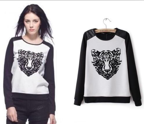 Nieuwe fashionthickness o  hals lange mouw truien sweatshirts hoodies vrouwen cartoon tijger gedrukte top