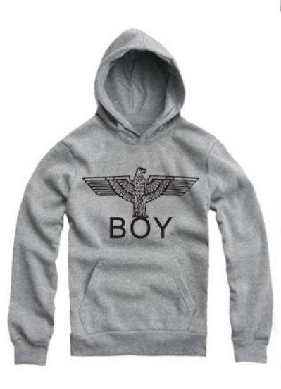 Grey Hooded Long Sleeve BOY Eagle Print Sweatshirt - Sheinside.com