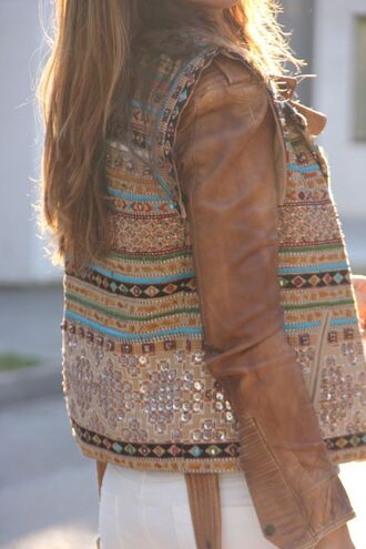 jacket vest aztec sequins leather winter outfits