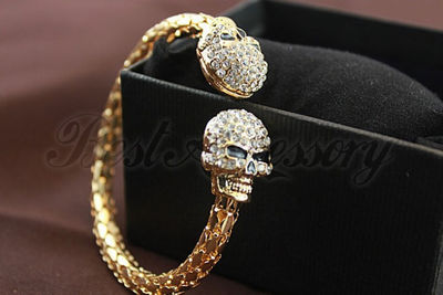 Skull head crystal bangle bracelet gold · ebony lace fashion boutique · online store powered by storenvy