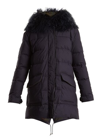 coat fur navy