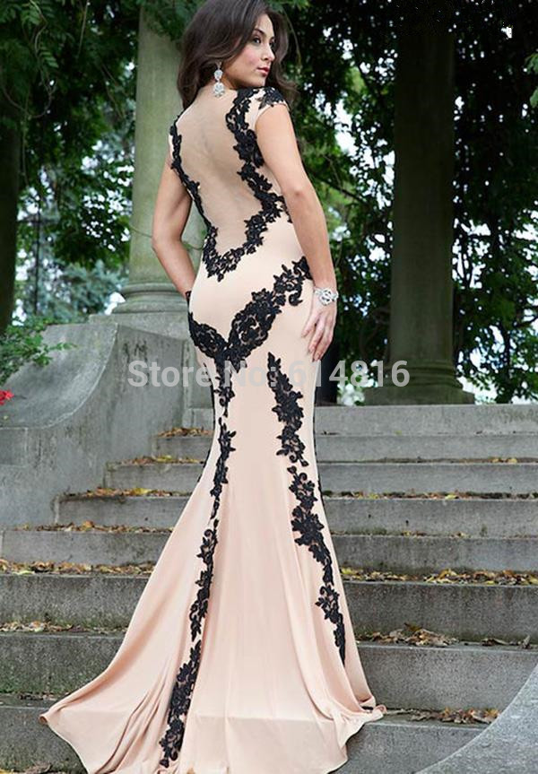 Aliexpress.com : Buy Fabulous Trumpet Nude Tulle With White Lace Appliques High Neck Sheer Back Prom Dresses 2014 Long Train from Reliable tull dress suppliers on Suzhou Babyonlinedress Co.,Ltd