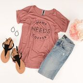 jeans,mama,coffee,outfit,outfit idea,spring,summer,cozy,casual,womens fashion,womens clothing,mauve,graphic tee