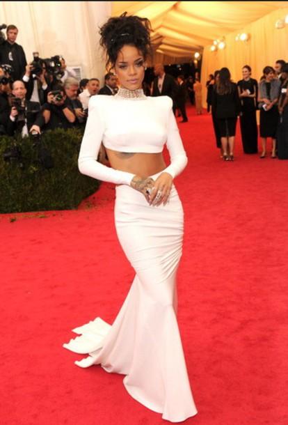dress white rihanna sexy dress jewels