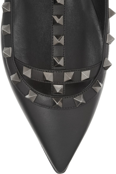 Valentino | Studded leather flats | NET-A-PORTER.COM