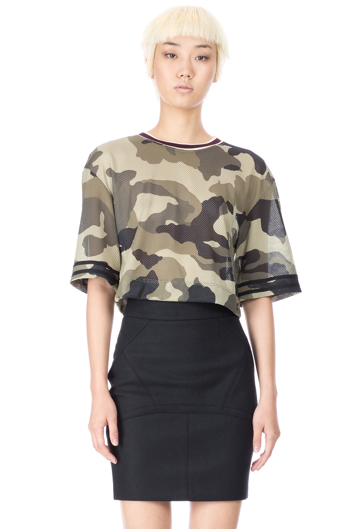 RIHANNA FOR RIVER ISLAND MESH CROPPED BASKETBALL T - WOMEN - RIHANNA FOR RIVER ISLAND