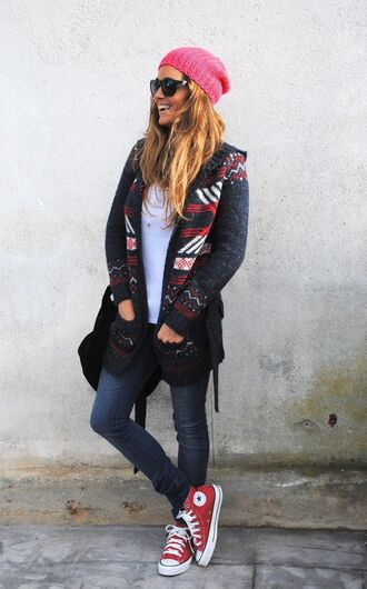 shoes red converse red sneakers sneakers converse high top converse high top sneakers jeans denim blue jeans top white top cardigan grey coat grey cardigan beanie pink beanie sunglasses black sunglasses back to school