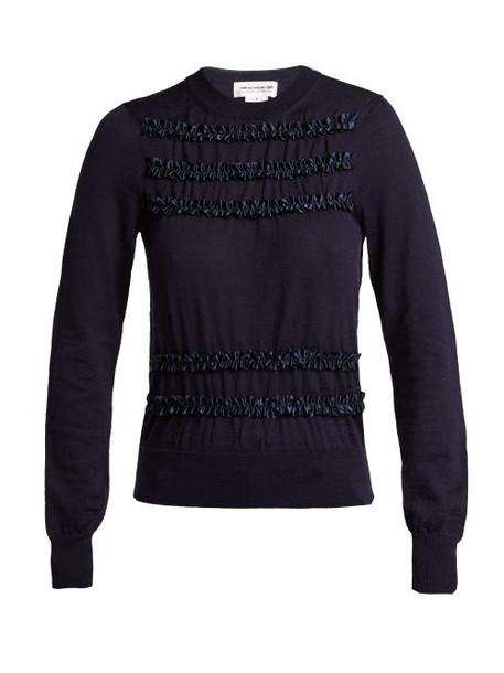 sweater wool sweater navy wool