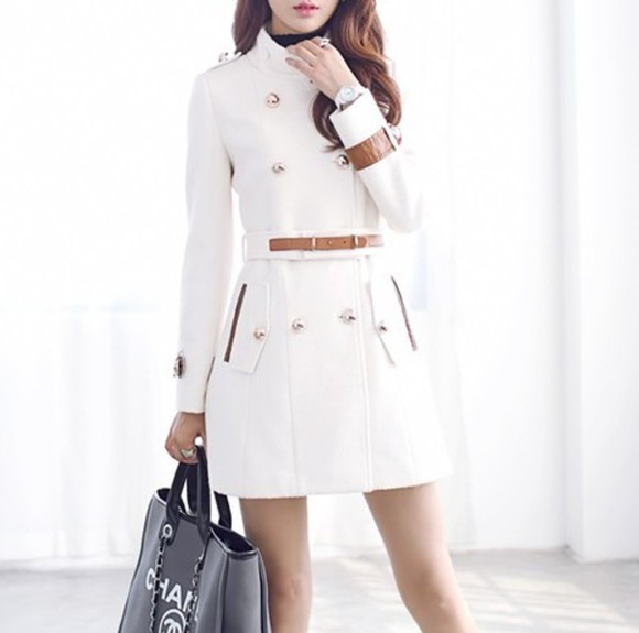 long coat slim collar double breast
