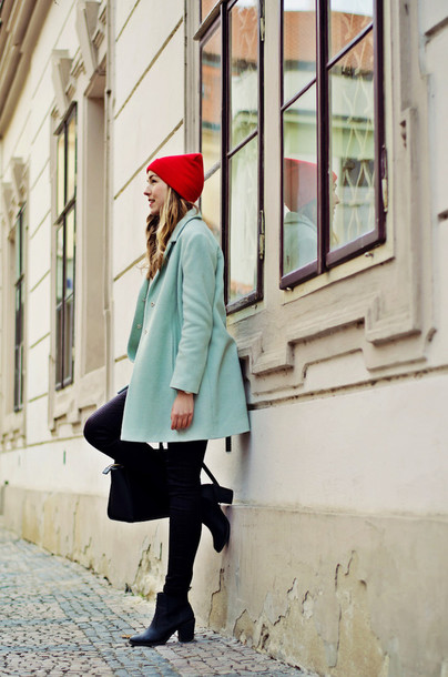 a cup of style blogger coat top pants shoes hat bag jewels make-up