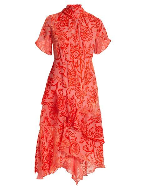 dress high floral print pink
