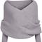 Grey off the shoulder crop knit sweater -shein(sheinside)